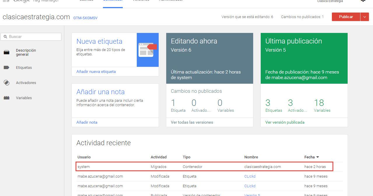 cuenta migrada Google Tag manager